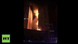 Huge fire engulfs 2 towers of residential skyscraper in UAE