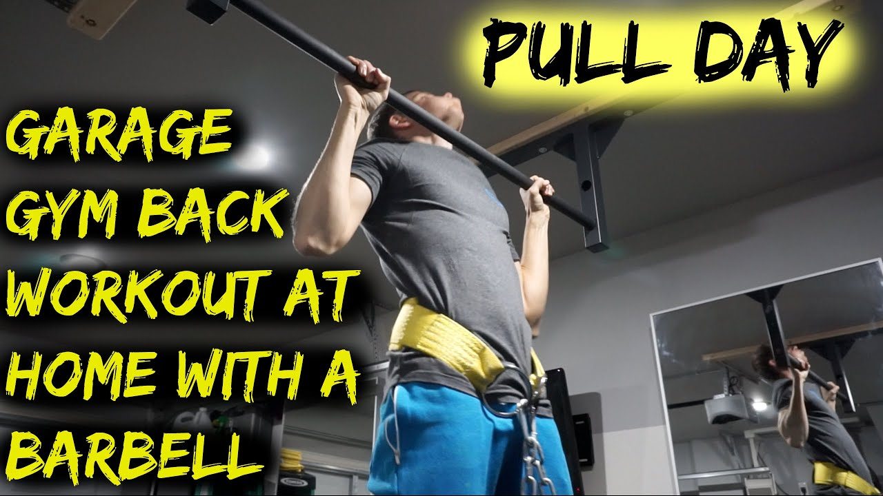 Garage gym back workout at home with a barbell pull day
