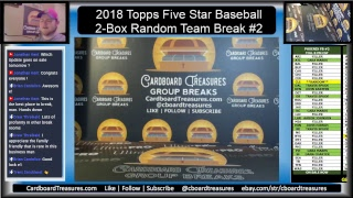 2018 Topps Five Star Baseball 2-Box Random Teams Break #2