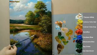 Landscape Oil Painting Lilies In The Lake By Yasser Fayad