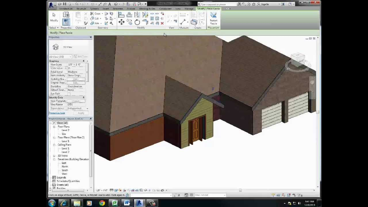 Revit Roof Finishing Adding Soffit Fascia Gutter Youtube