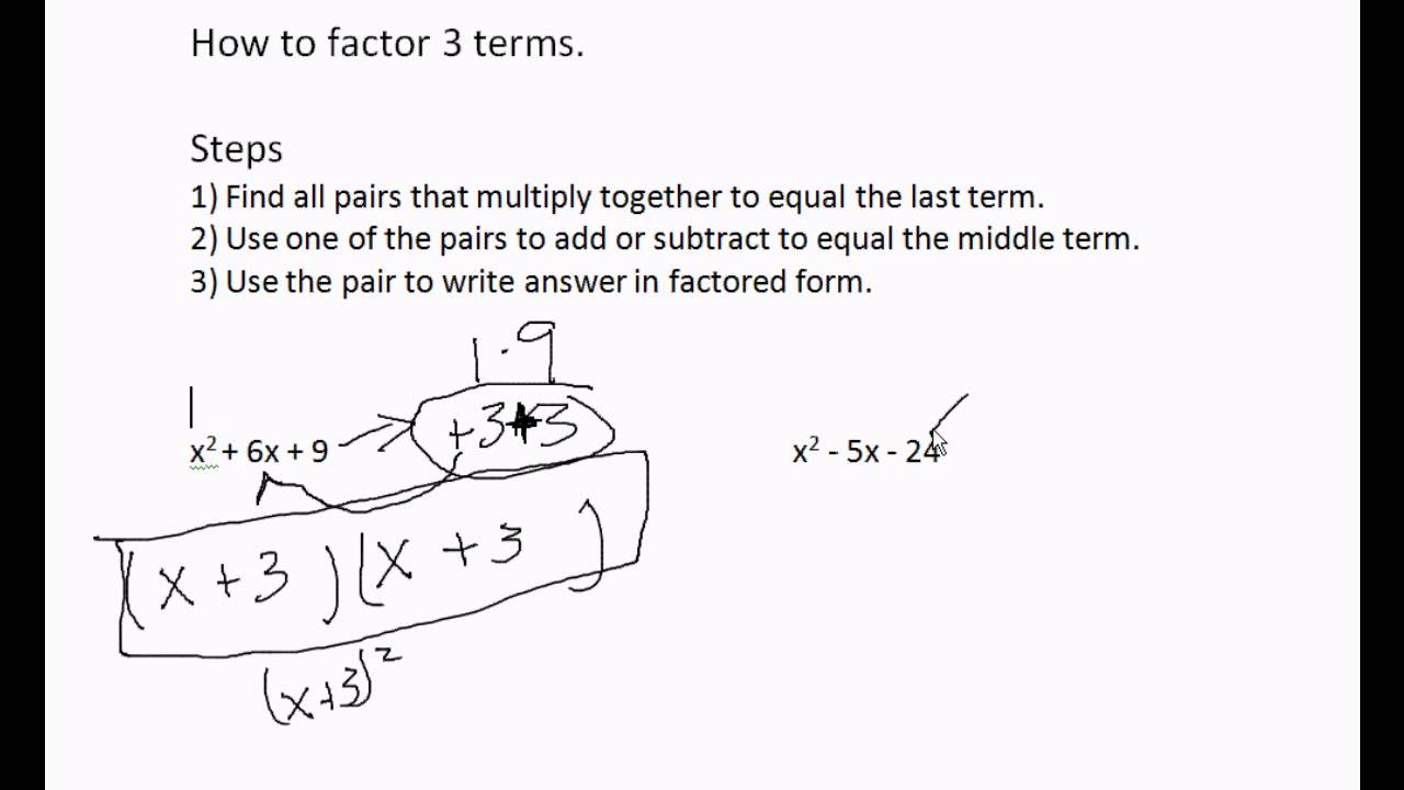 How to factor 3 terms when number in front of x^2 = 1 - YouTube