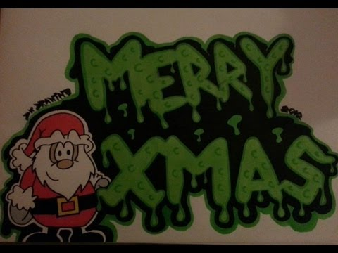 drawing bubble letters merry christmas xmas santa claus