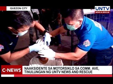 Naaksidente sa motorsiklo sa Comm. Ave, tinulungan ng UNTV News and Rescue