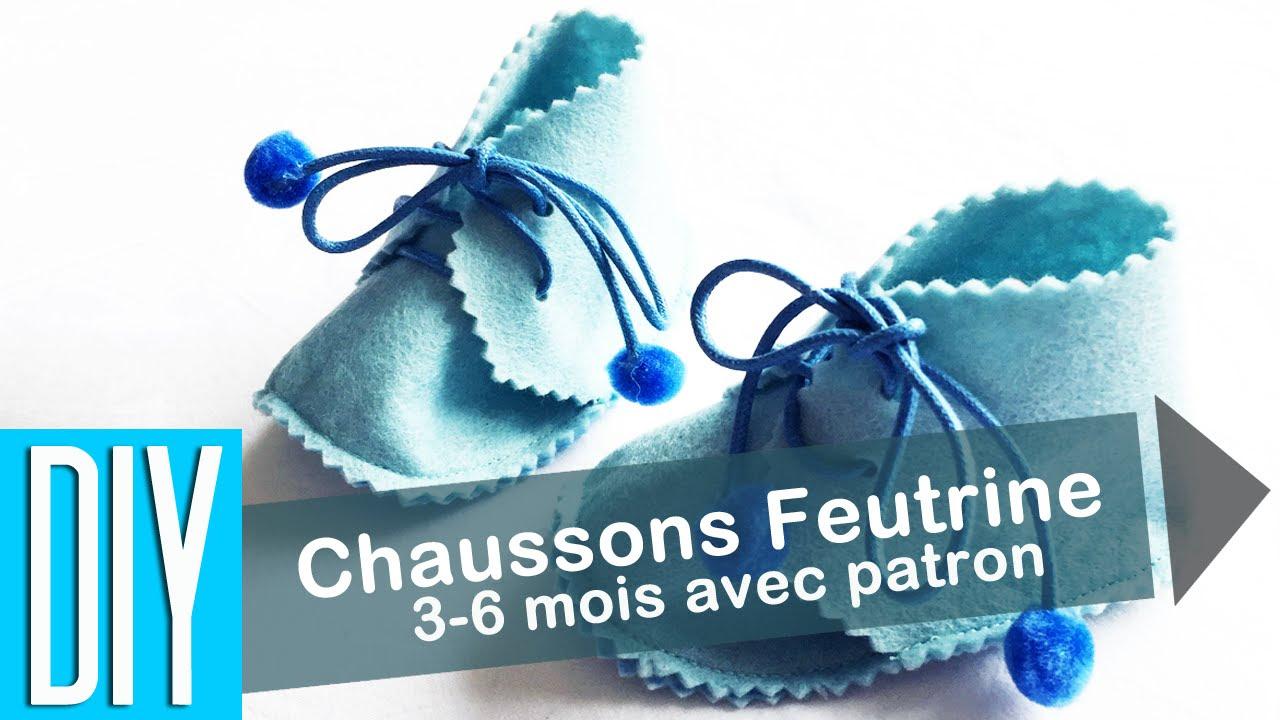 Diy Chausson Feutrine Baby Bleu 3 6 Mois1 Youtube