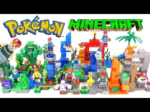 Pokémon Minecraft Ash Pikachu Charmander Mewtwo Squirtle Bulbasaur & Gengar Unofficial LEGO Set