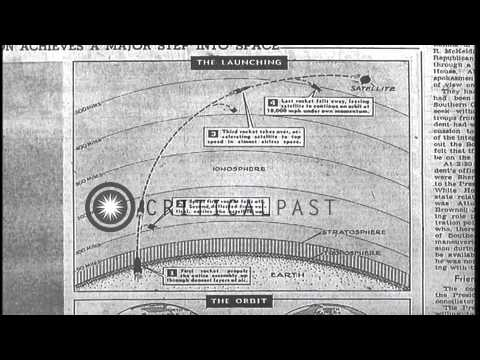 New York Times headlines about the launching of Soviet Sputnik. HD Stock Footage