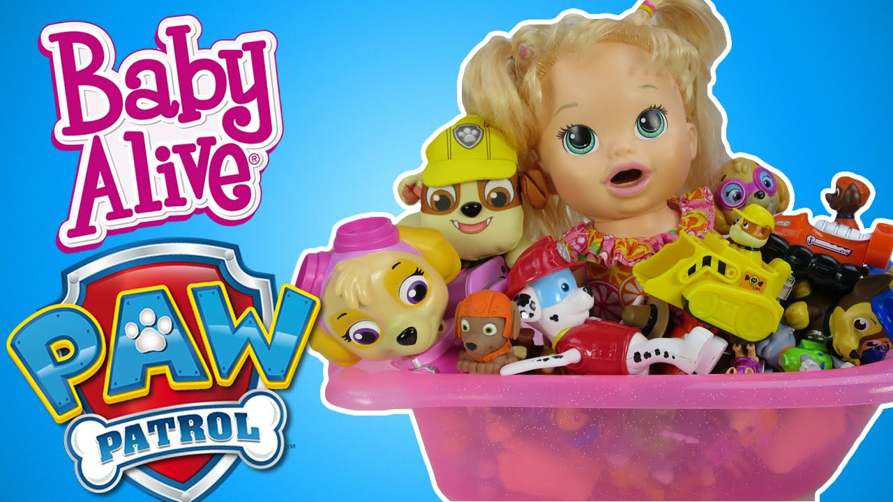 Baby Alive Bath Tub.Baby Alive Doll Takes A Bath In Baby Alive Bathtub Filled With Paw Patrol Toys