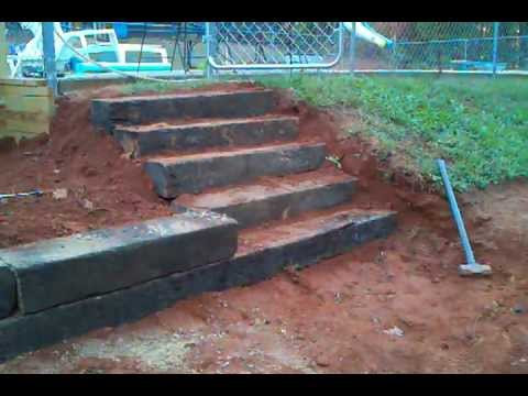 How to build steps out of railroad tie - YouTube