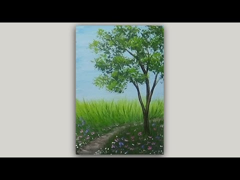 Landscape Acrylic Speed Painting Tree And Meadow Path