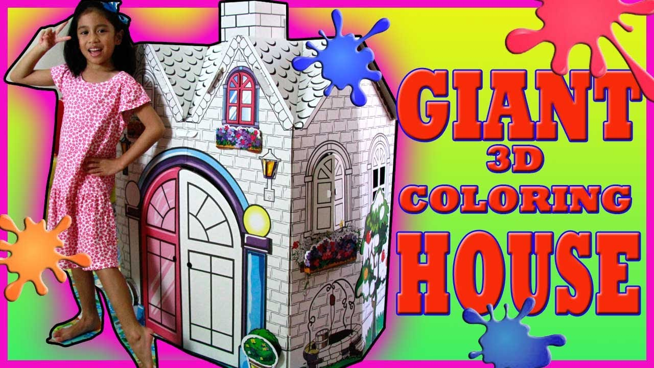 GIANT KIDS 3D COLORING CARDBOARD PLAYHOUSE | Princess CASTLE, Paint ...