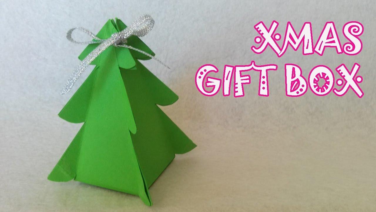 Christmas Tree Gift Box Origami Easy Youtube