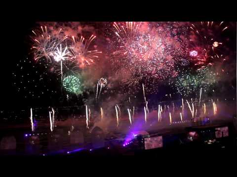 HD - Grand Opening of the Meydan Racecource & Dubai World Cup Fireworks - Aerial Show