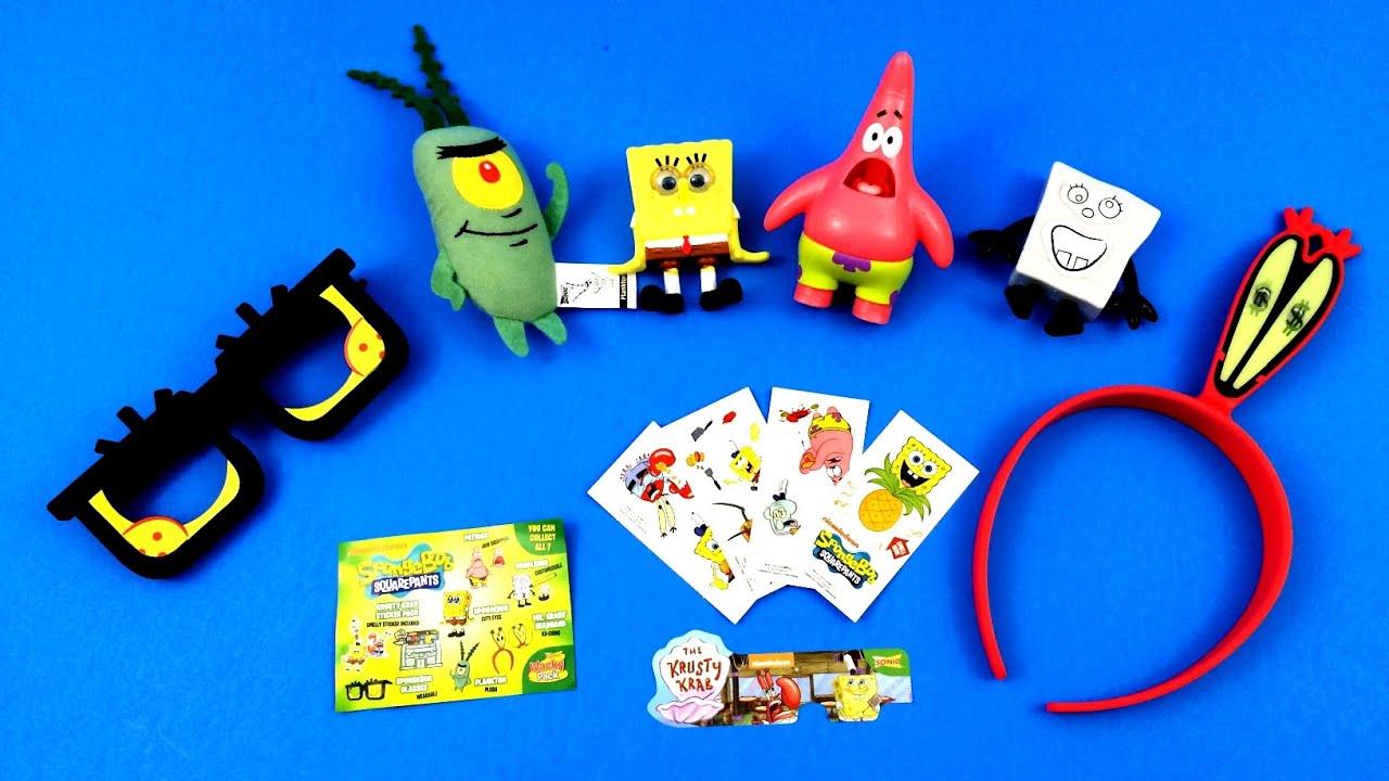 2015 Sonic Drive In Spongebob Complete Set Of 7 Kids Meal Toys Wacky