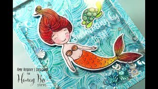Honey Bee Stamps Floating Mermaid Shaker Card | Distress Inks & CCRB Markers