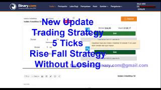 New Update Trading Strategy binary.com  5 Ticks Rise Fall Strategy Without Losing
