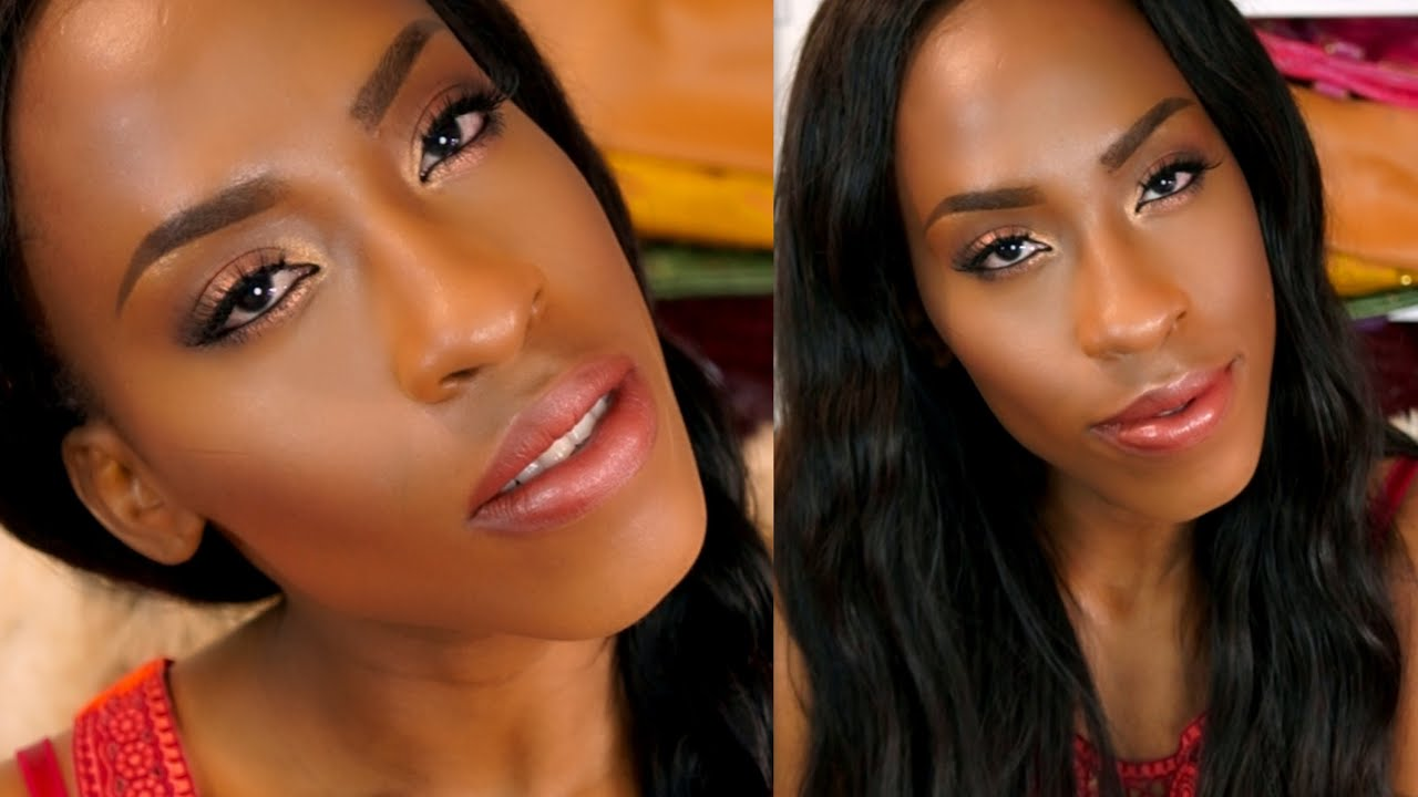 Easy Summer Bronzy Bridal Makeup Tutorial For Black Women - YouTube