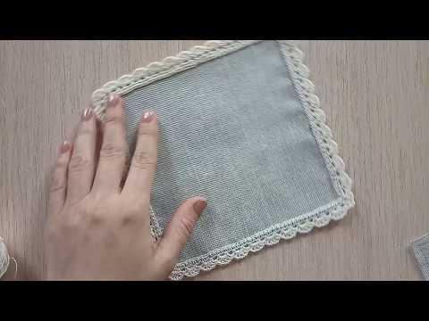 Скатерть комбинированная с тканью крючком