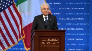 This world leaders forum program featured an address by his excellency sergio mattarella, president of the italian republic, followed a question and answe...