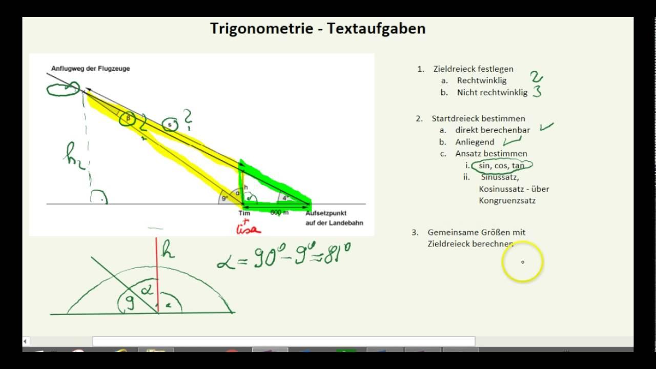 Trigonometrie XI - komplexe Textaufgaben - YouTube