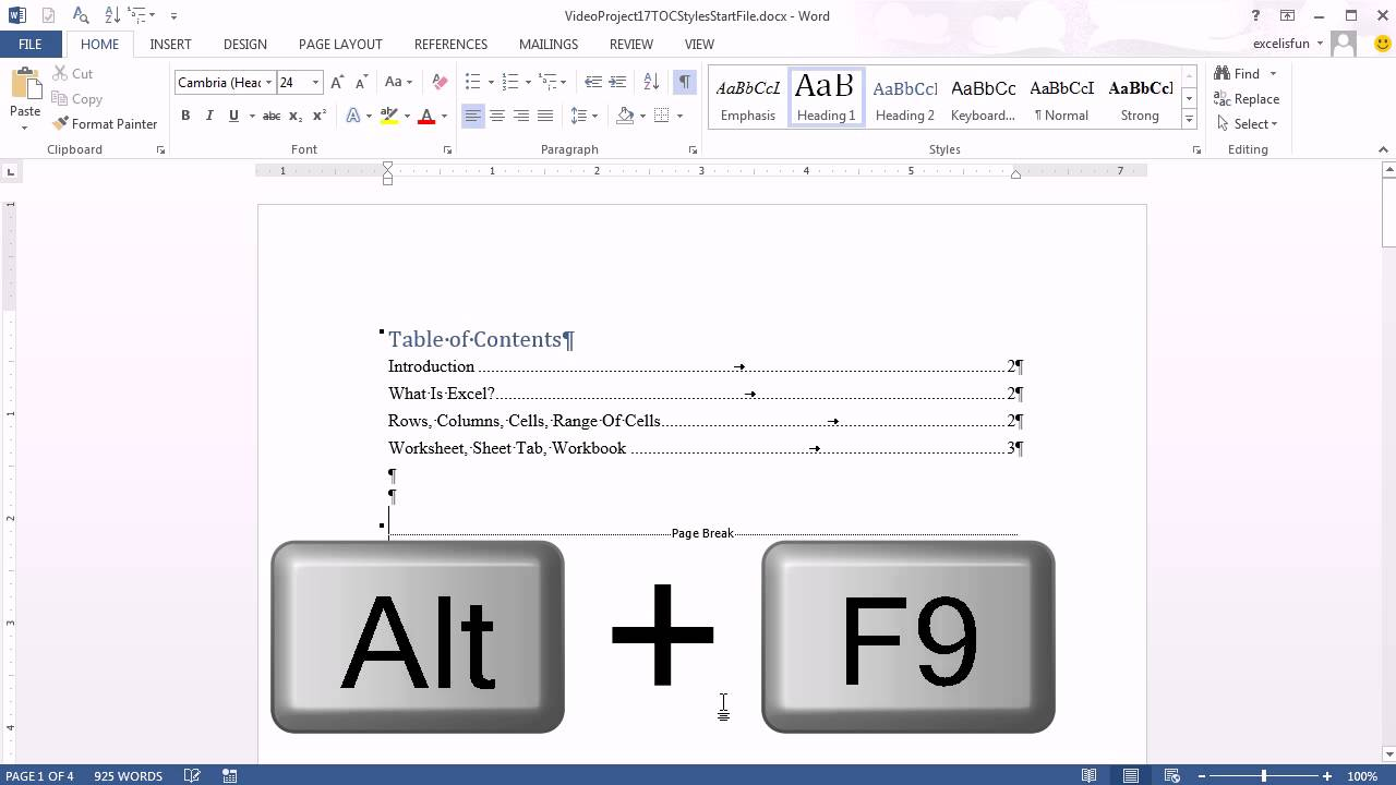 Office 2013 Class 17 Word Heading Styles To Create Automatic TOC PowerPoint