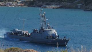 HN Missile Boat P28 sailing for patrol in Aegean Sea slideshow. FHD video