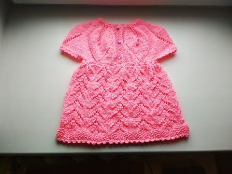 Платье спицами с круглой кокеткой с листьями на девочку от о-7лет. Часть1