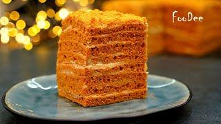 Торт Карамелька всего за 30 минут Быстрый домашний торт без возни с коржами