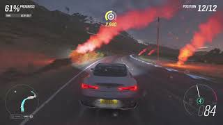 Forza horizon 4 infiniti car im riding in against cars in a street race match part.84 xbox one