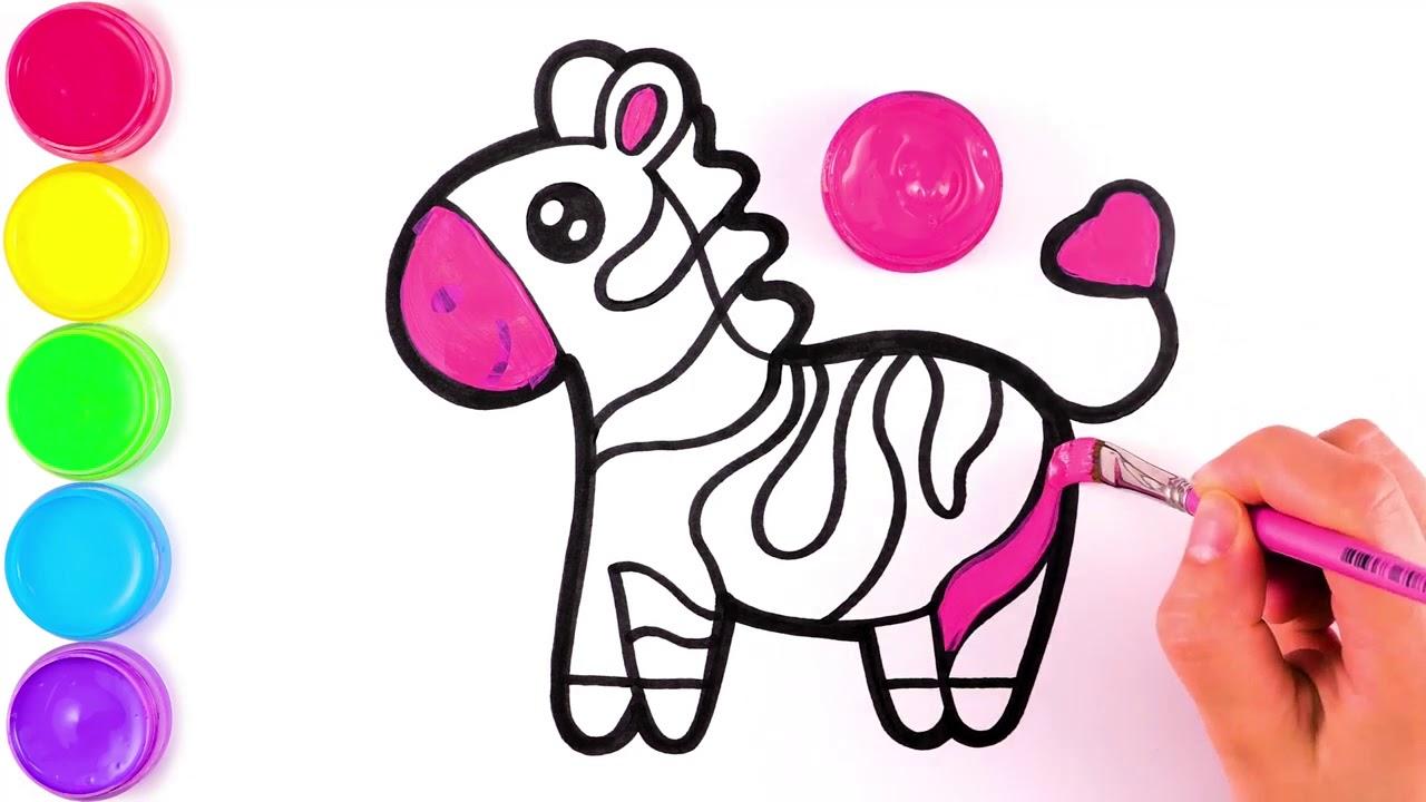 Мартин зебра рисунок и раскраска для детей - YouTube