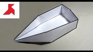 Оригами - Как сделать  ЛОДКУ плоскодонку из бумаги А4 своими руками7