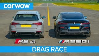 BMW M850i v Audi RS4 - DRAG RACE, ROLLING RACE & BRAKE TEST