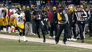 Jacoby Jones dodges Mike Tomlin on kickoff return (2013)