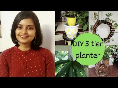 DIY 3 tier planter/ Update of തലകീഴായി ചെടിനടാഠ, പാഴ്തടിയിൽ ചെടിനടാഠ,money plant wreath in malayalam