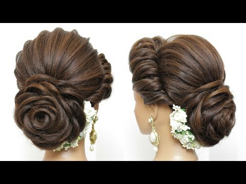 New Bridal Hairstyle With Flower Bun For Long Hair.  Wedding Updo