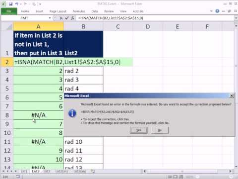 Excel 2010 Magic Trick 813 Compare Two Lists Extract Items In List