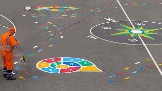 Aire de jeux pour enfants, jeux educatifs, jeux d'école - marquage au sol thermocollé préfabriqué