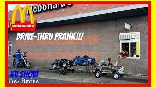 McDonalds Drive Thru Pranks Kid Driving His Ram Hauling Power Wheels Ride On Toys Camaro And Mustang