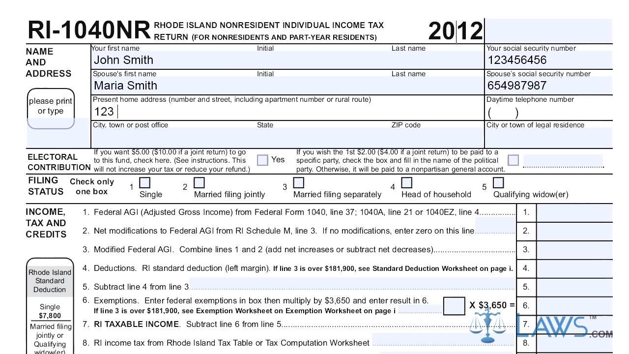 form ri 1040nr nonresident individual income tax return - YouTube