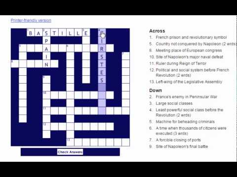 French Revolution Crossword Puzzle