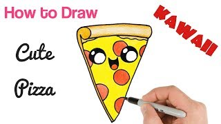 How to Draw a Cartoon Pizza Slice cute kawaii and easy