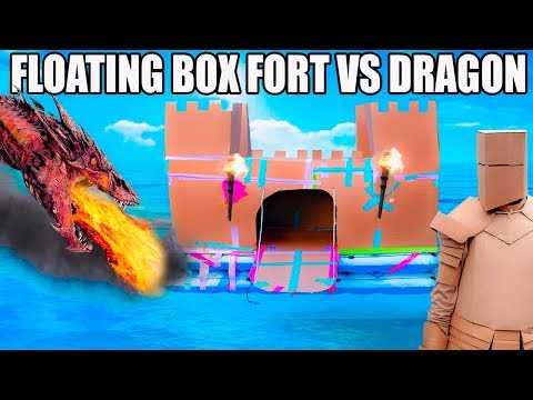 FLOATING BOX FORT CASTLE Vs A DRAGON!! 📦🐲 Fire Breathing, Sw