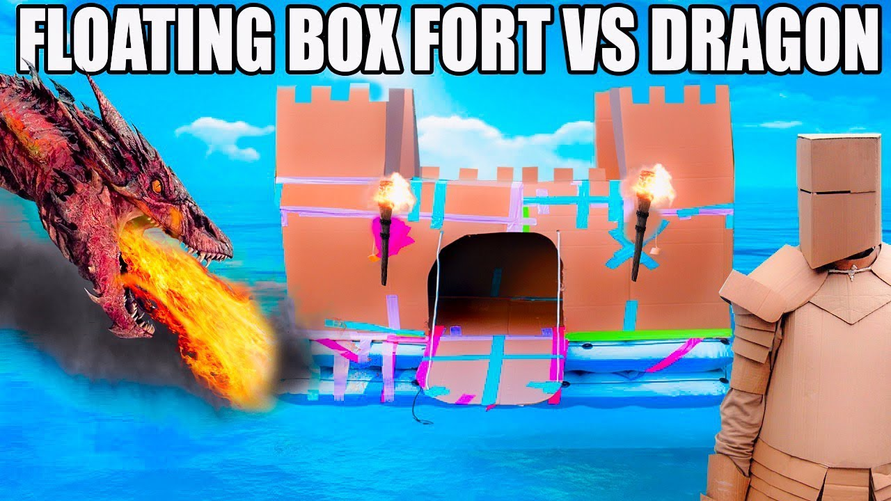 floating-box-fort-castle-vs-a-dragon-fire-breathing-sword-battle-box-fort-armour-more