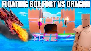 FLOATING BOX FORT CASTLE Vs A DRAGON!!  Fire Breathing, Sword Battle, Box Fort Armour & More!