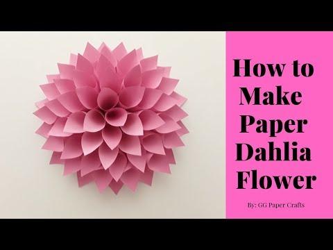 How to Make Large Paper Dahlia Flower - Dahlia Flower Tutorial (MEASUREMENTS IN DESCRIPTION)