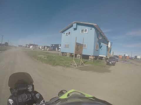 Riding into Tuktoyaktuk and to the Arctic Ocean