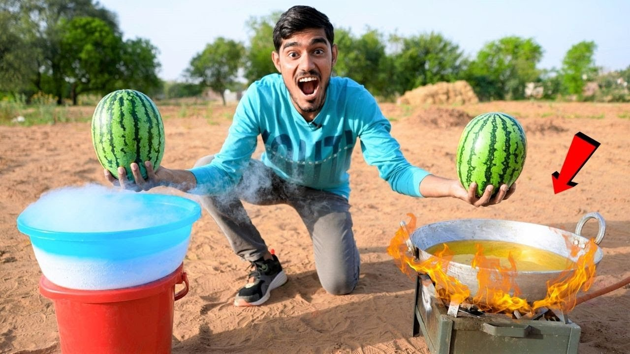 Boiling Watermelon in Hot Oil & Freezing It | What Will happen?