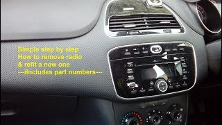 Fiat Punto Evo 2009 -2015 radio removal & refit guide + part numbers used