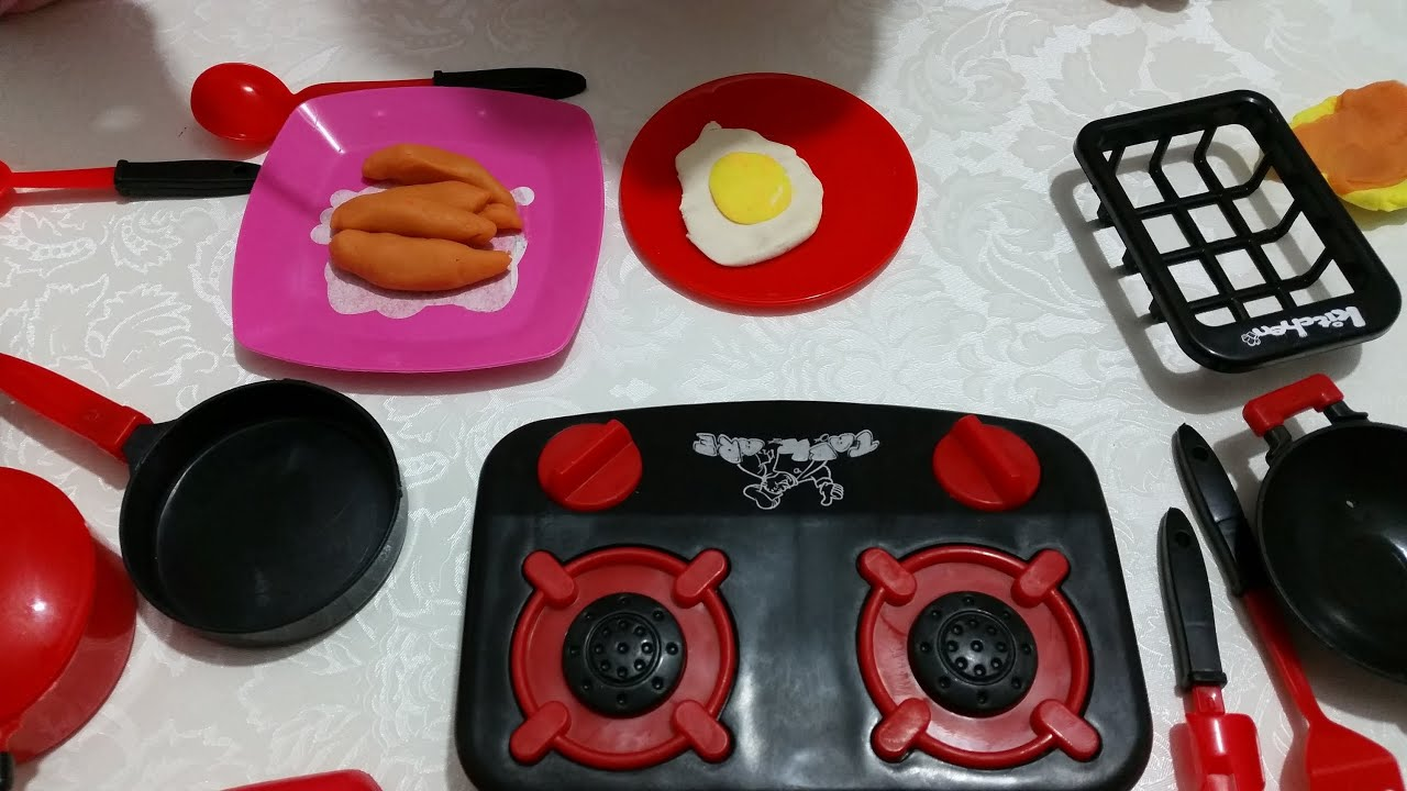 Toy kitchen set for kids little boy unboxing and cooking for Kitchen set cicilan 0