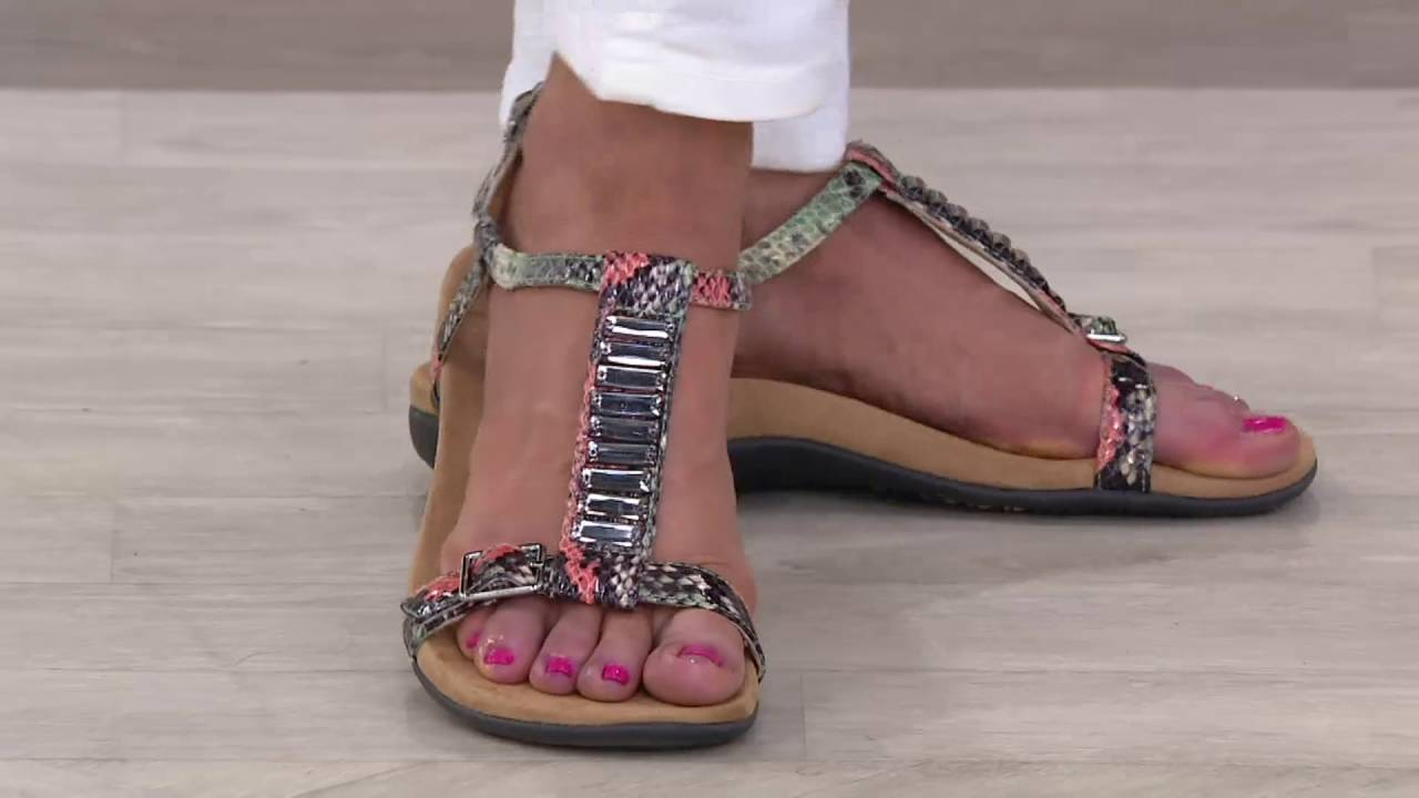 795e26ff380 Vionic Orthotic Embellished T-strap Sandals - Navassa on QVC - YouTube